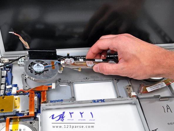 آموزش تعویض هیت سینک مک بوک پرو 17 اینچی مدل های A1151 ، A1212 ،A1229 ، و A1261